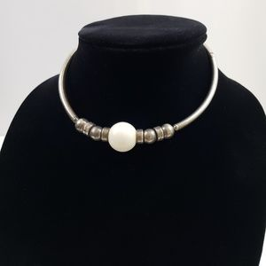 Sterling Silver White Glass Bead Choker Necklace